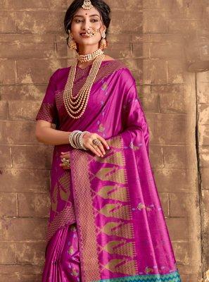 Purple Weaving Silk Designer Bollywood Saree