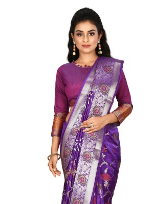 Purple Weaving Wedding Designer Saree
