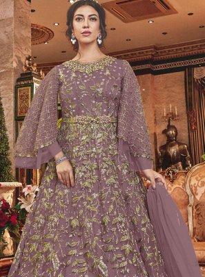 Mauve Wedding Net Designer Salwar Kameez