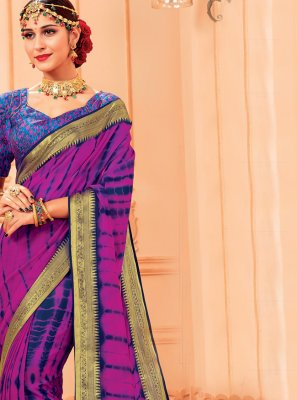 Purple Woven Party Trendy Saree