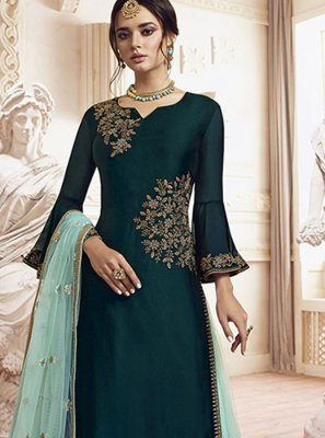 Rangoli Aqua Blue Embroidered Designer Palazzo Salwar Suit