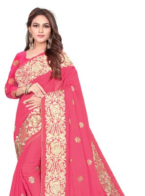 Rangoli Embroidered Pink Designer Saree