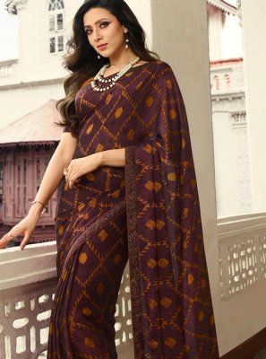 Rangoli Printed Brown Printed Saree