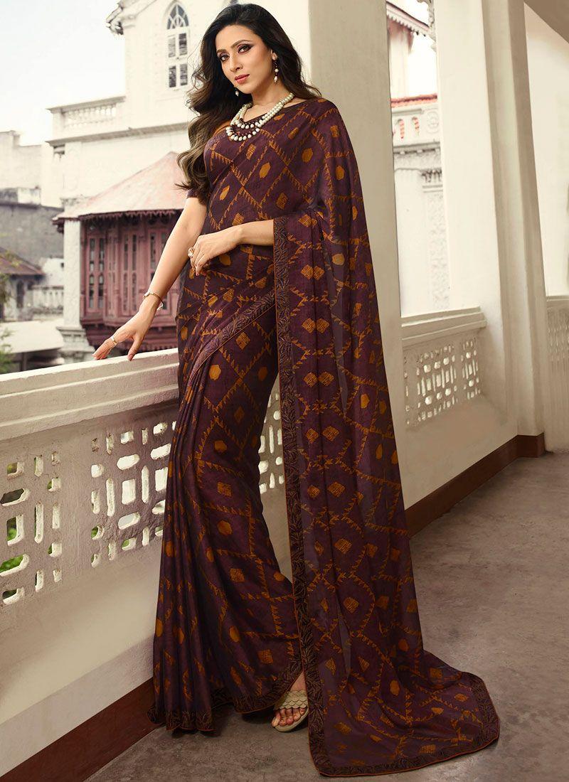Rangoli Printed Brown Printed Saree