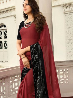 Rangoli Printed Printed Saree in Black and Red