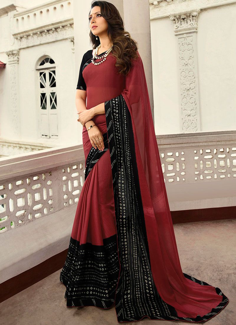 Rangoli Printed Printed Saree in Black and Red