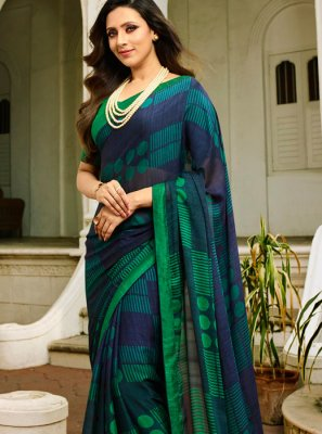 Rangoli Printed Printed Saree in Blue and Green