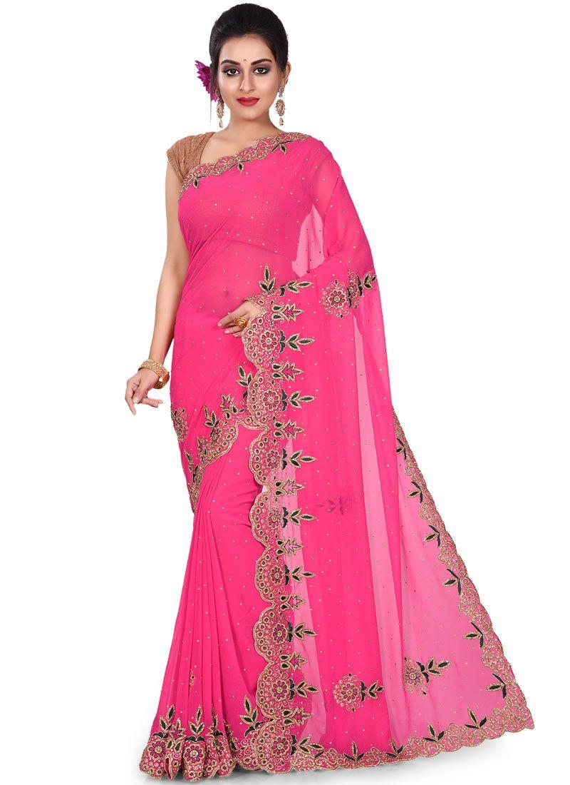 Rani Georgette Embroidered Designer Saree