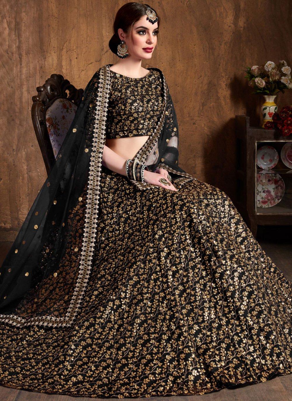 Raw Silk Black Embroidered Lehenga Choli