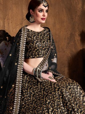 Raw Silk Black Embroidered Lehenga Choli