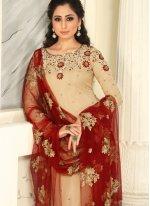 Raw Silk Cream Salwar Kameez