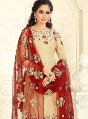 Raw Silk Cream Salwar Kameez
