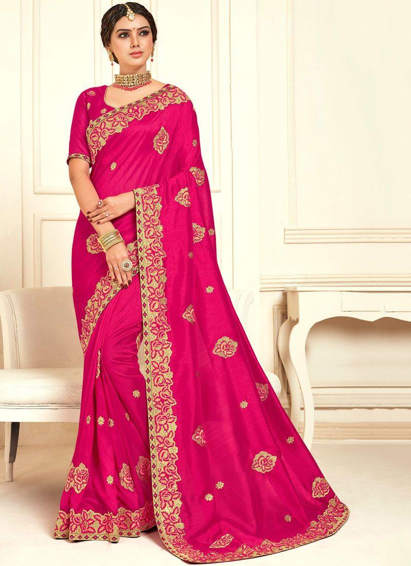 Raw Silk Embroidered Classic Designer Saree