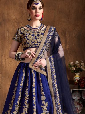 Raw Silk Embroidered Lehenga Choli in Blue