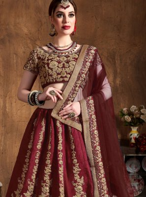 Raw Silk Embroidered Maroon Lehenga Choli