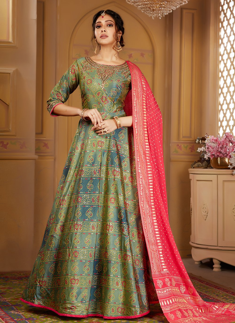 Raw Silk Embroidered Multi Colour Salwar Suit
