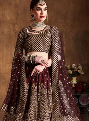 Raw Silk Embroidered Wine Lehenga Choli