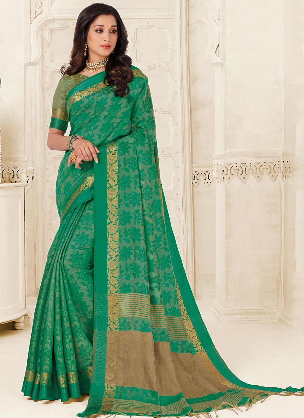 Raw Silk Green Woven Casual Saree