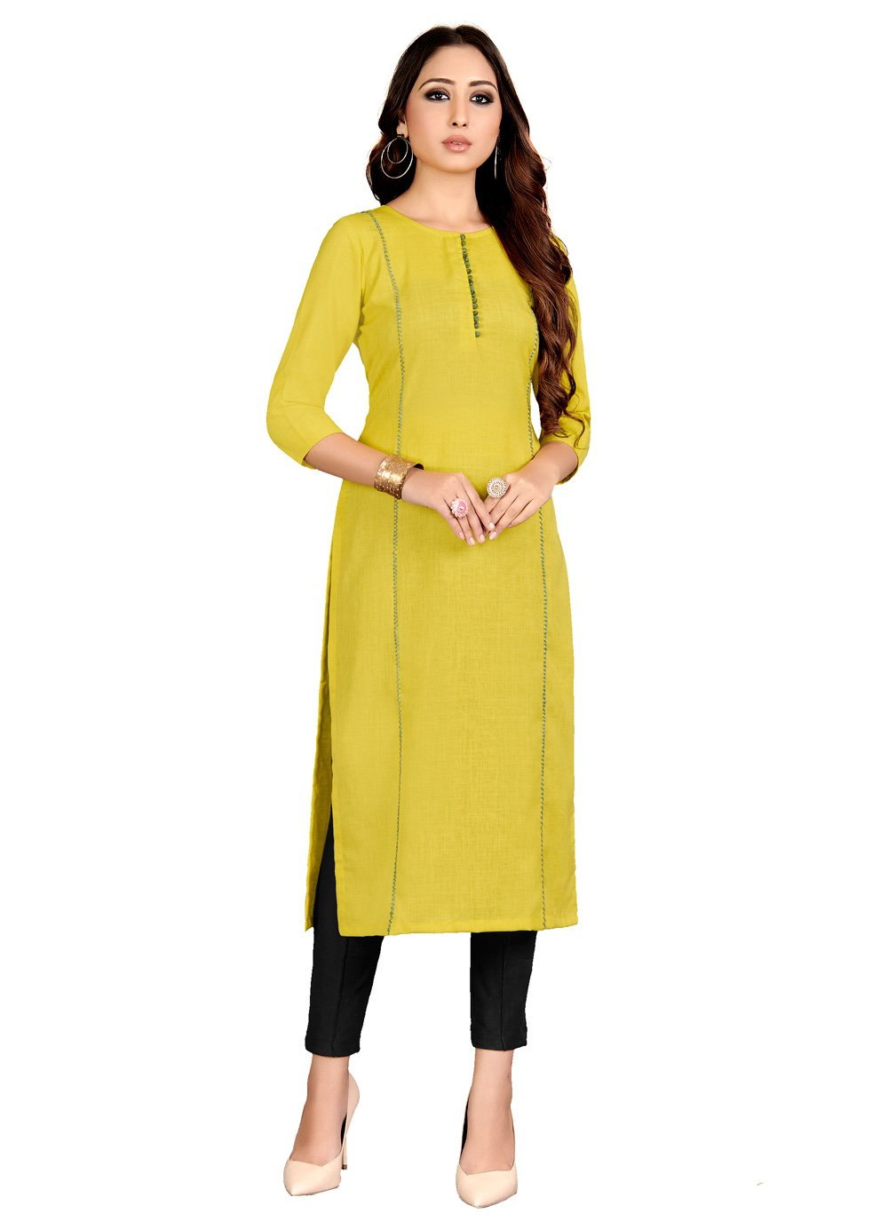 Raw Silk Plain Yellow Casual Kurti