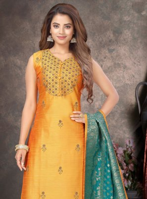 Raw Silk Yellow Embroidered Readymade Designer Suit