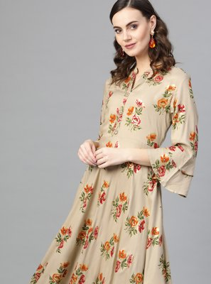 Rayon Beige Printed Party Wear Kurti
