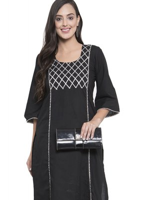 Rayon Black Printed Party Wear Kurti
