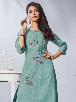 Rayon Blue Embroidered Party Wear Kurti