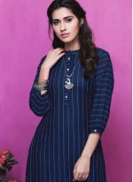 Rayon Blue Plain Party Wear Kurti