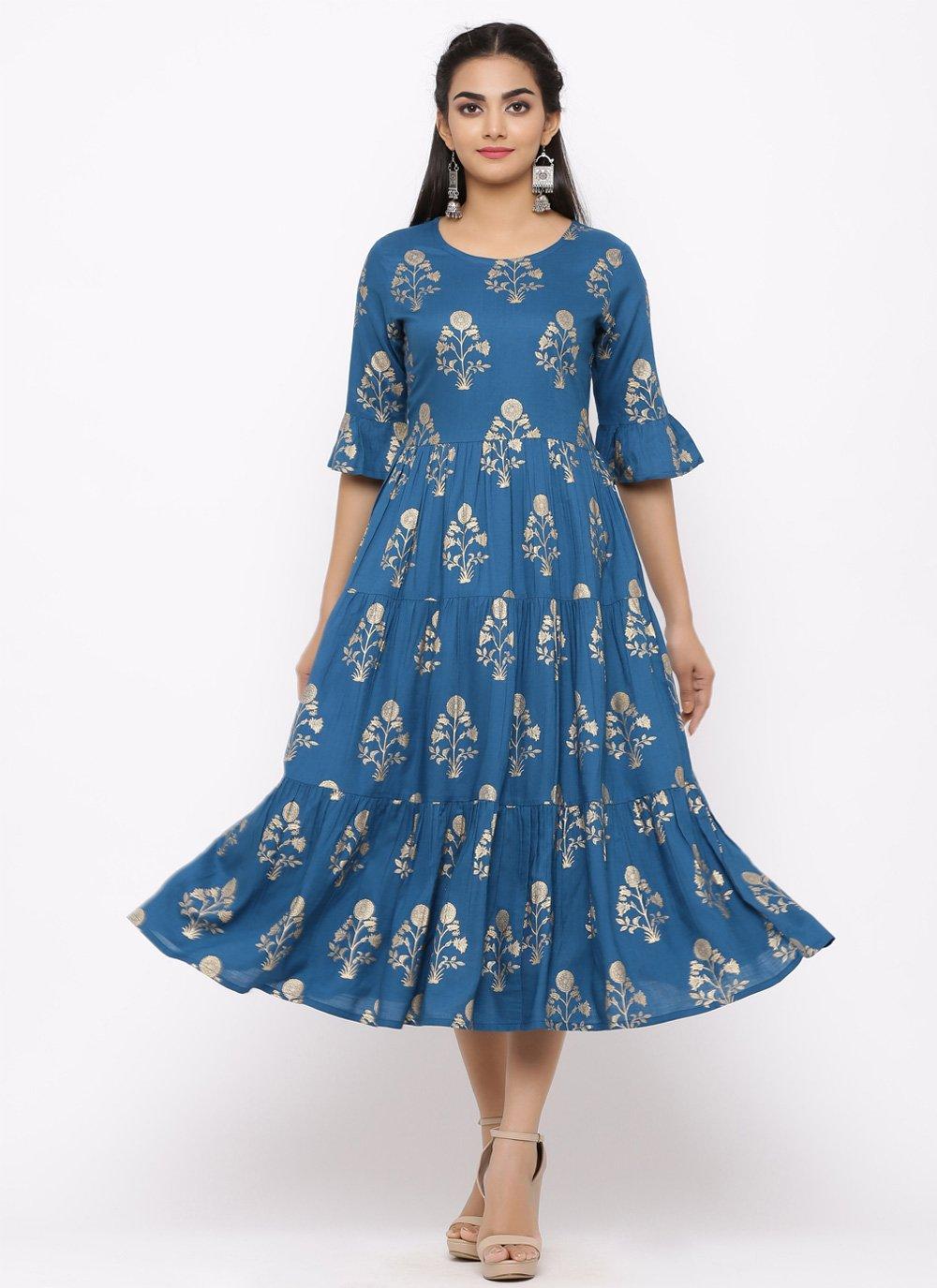 Rayon Blue Print Casual Kurti