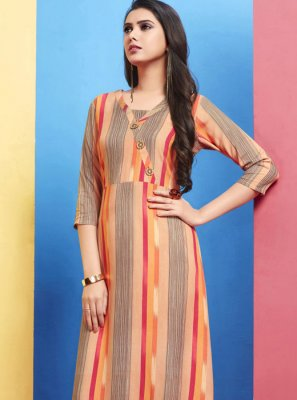 Rayon Cream Printed Casual Kurti