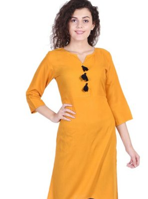 Rayon Designer Kurti in Yellow
