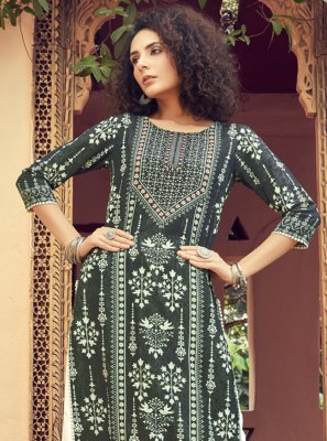 Rayon Digital Print Green Salwar Suit