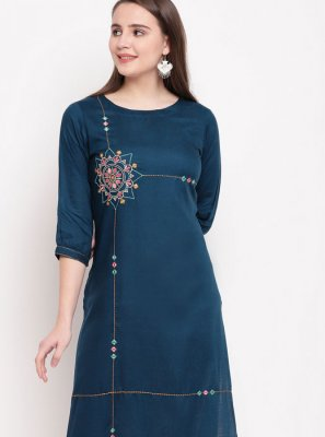Rayon Embroidered Blue Casual Kurti