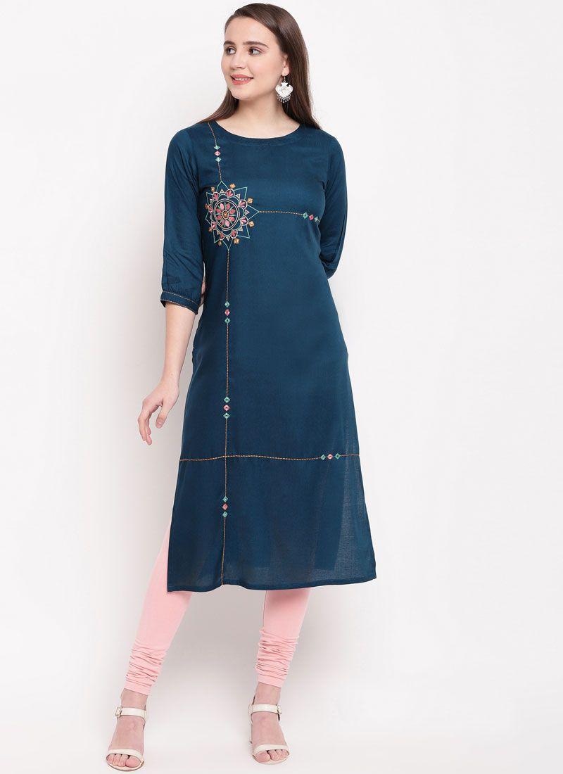 Rayon Embroidered Blue Casual Kurti