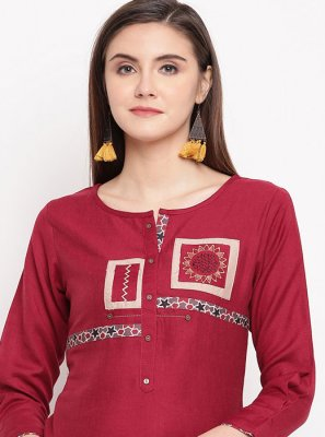 Rayon Embroidered Designer Kurti in Red