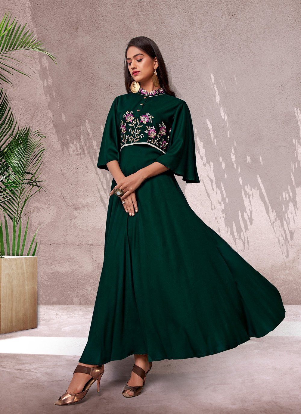 Rayon Embroidered Green Designer Kurti