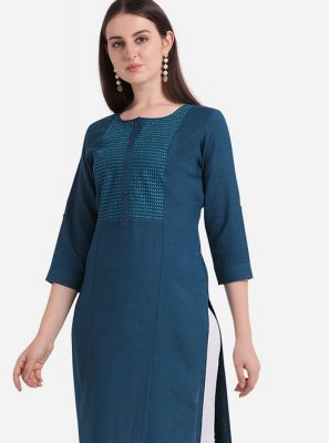 Rayon Embroidered Navy Blue Casual Kurti