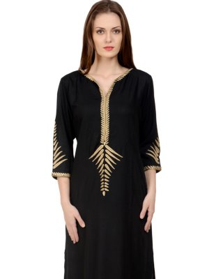 Rayon Embroidered Party Wear Kurti in Black