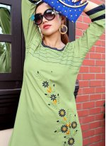 Rayon Embroidered Party Wear Kurti in Green