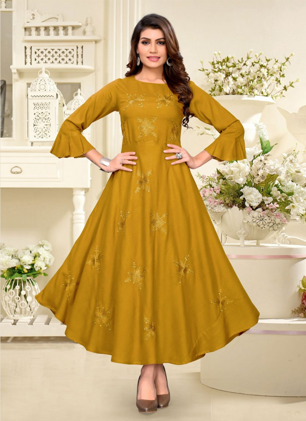 Rayon Embroidered Party Wear Kurti in Mustard