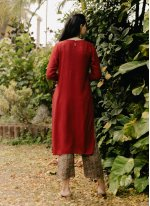 Rayon Embroidered Party Wear Kurti in Red
