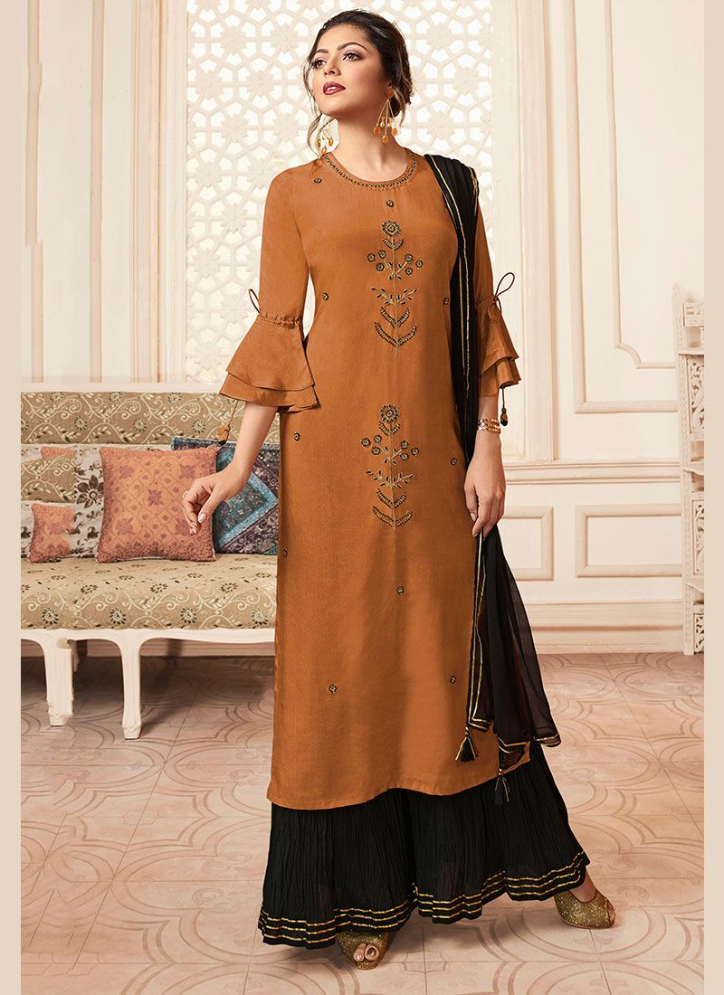 Rayon Embroidered Rust Trendy Palazzo Salwar Suit