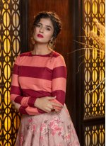 Rayon Foil Print Pink Trendy Lehenga Choli