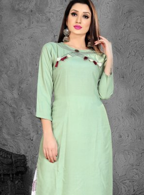 Rayon Green Embroidered Kurta