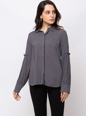 Rayon Grey Plain Casual Kurti