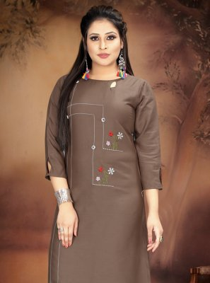 Rayon Handwork Party Wear Kurti in Brown