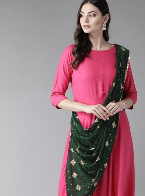 Rayon Hot Pink Printed Casual Kurti