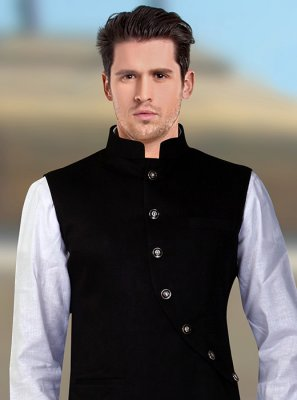 Rayon Machine Embroidery  Nehru Jackets in Black