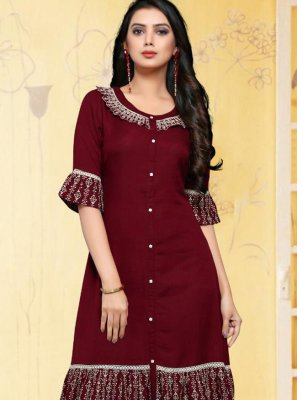 Rayon Magenta Thread Casual Kurti