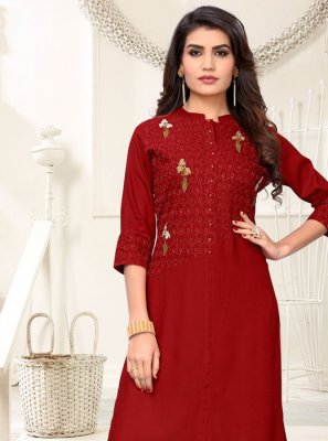 Rayon Maroon Embroidered Party Wear Kurti